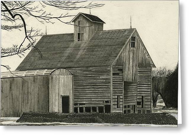 Old Barns Drawings Greeting Cards - Old Grainery Greeting Card by Bryan Baumeister
