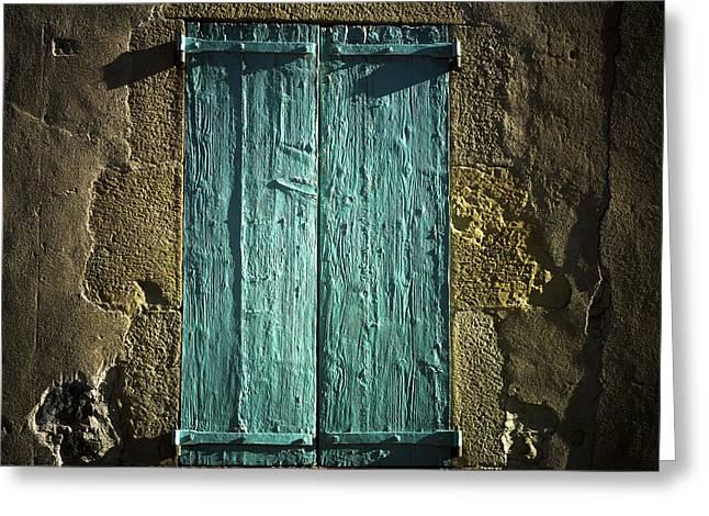 Old Green Shutters Closed Greeting Card by Bernard Jaubert