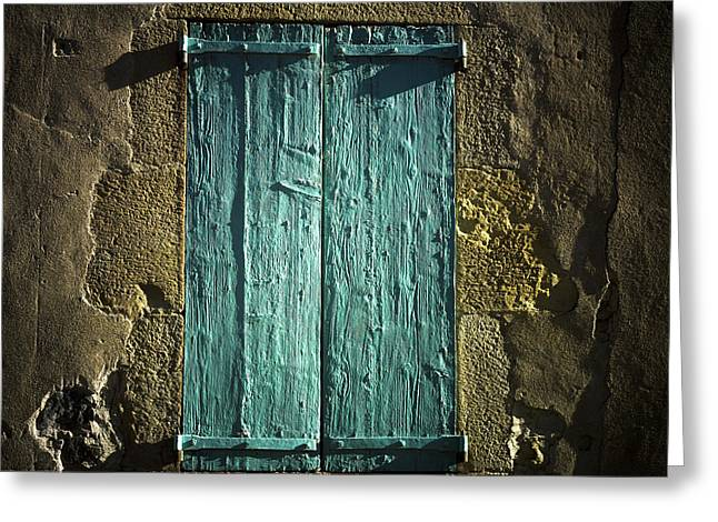 Wooden Shutters Greeting Cards - Old green shutters closed Greeting Card by Bernard Jaubert