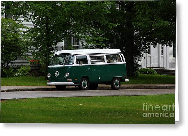 Old Maine Houses Greeting Cards - Old Green Volkswagen Bus in Bethel Maine Greeting Card by Marina McLain