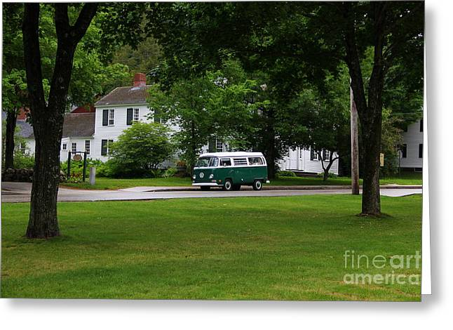 Old Maine Houses Greeting Cards - Old Green Volkswagen Bus Maine Greeting Card by Marina McLain