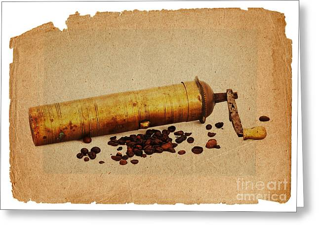 Old Grinders Digital Greeting Cards - Old Grinder And Beans Greeting Card by Michal Boubin