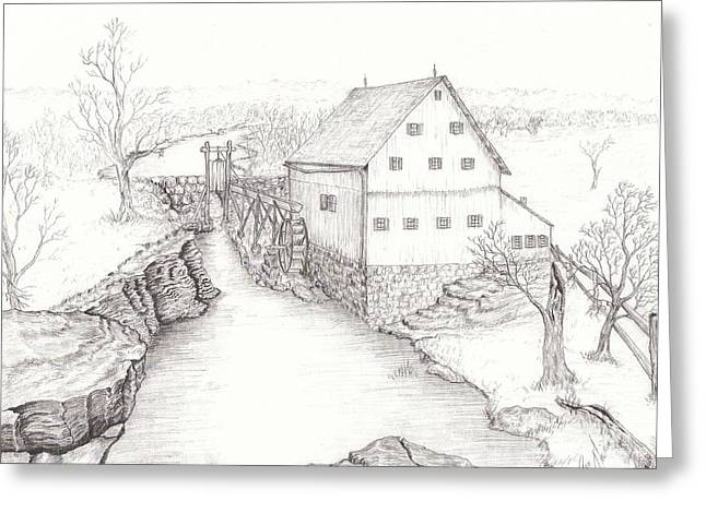 Grist Mill Drawings Greeting Cards - Old Grist Mill Greeting Card by Dan Theisen