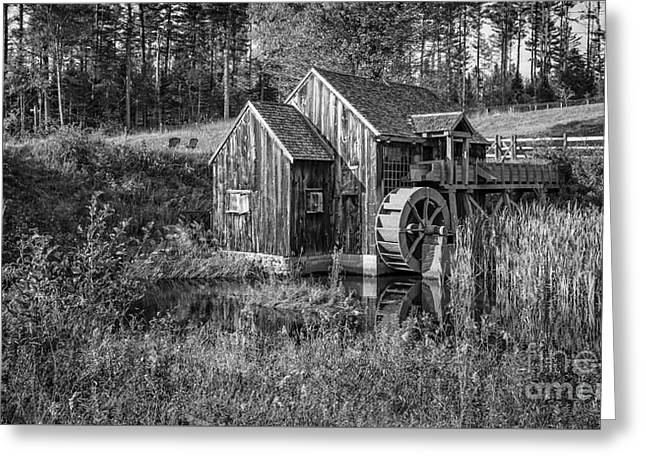 Old Grist Mill In Vermont Black And White Greeting Card by Edward Fielding