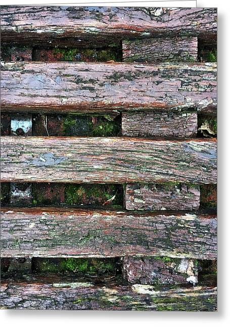 Old Grungy Wood Planks Greeting Card by Tom Gowanlock