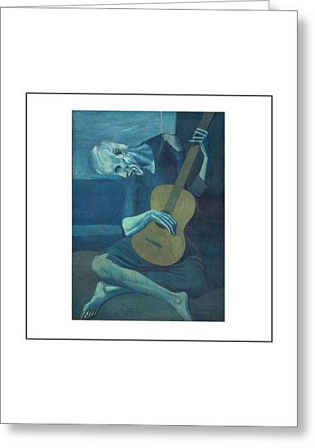 Pablo Picasso Paintings Greeting Cards - Old Guitarist Greeting Card by Pablo Picasso