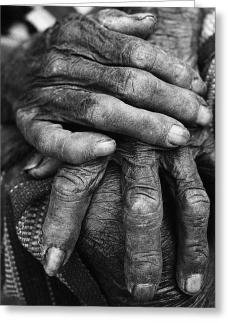 Citizens Photographs Greeting Cards - Old Hands 3 Greeting Card by Skip Nall