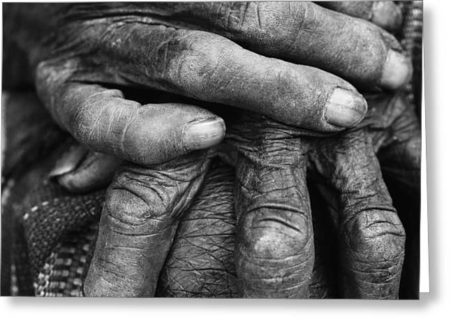 Old Hands 3 Greeting Card by Skip Nall