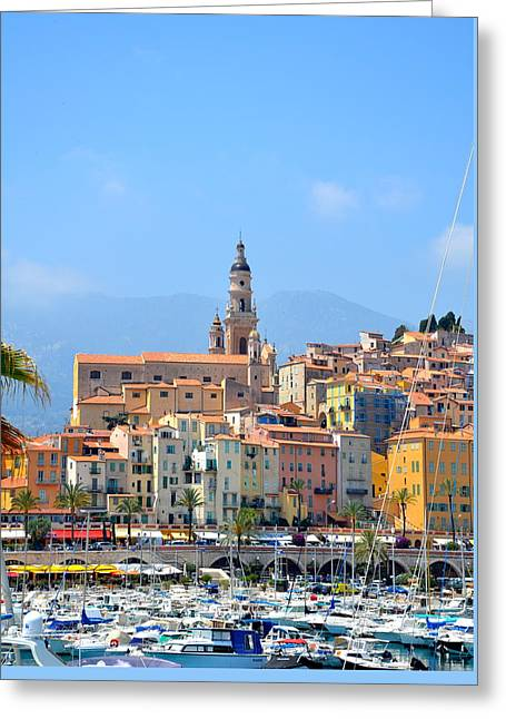 Menton Greeting Cards - Old Harbor Greeting Card by Corinne Rhode