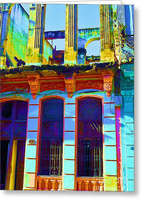 Old Door Mixed Media Greeting Cards - Old Havana Remnant Greeting Card by Chris Andruskiewicz