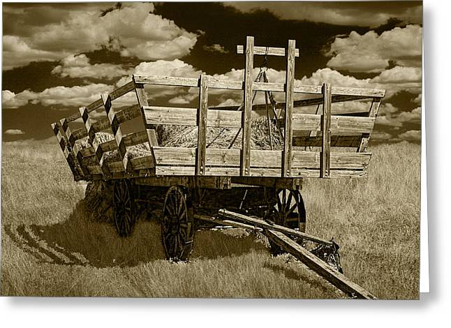 Wooden Wagons Greeting Cards - Old Hay Wagon in Sepia Greeting Card by Randall Nyhof