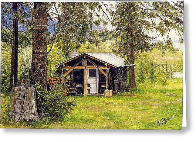 Old Cabins Greeting Cards - Old Homested Greeting Card by Ellen Strope