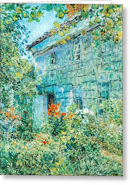 East Hampton Paintings Greeting Cards - Old House and Garden East Hamptons Greeting Card by Childe Hassam