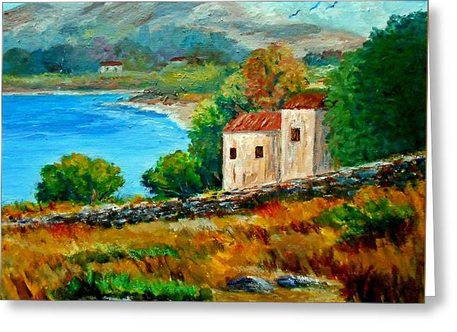 Old House In Mani Greeting Card by Constantinos Charalampopoulos