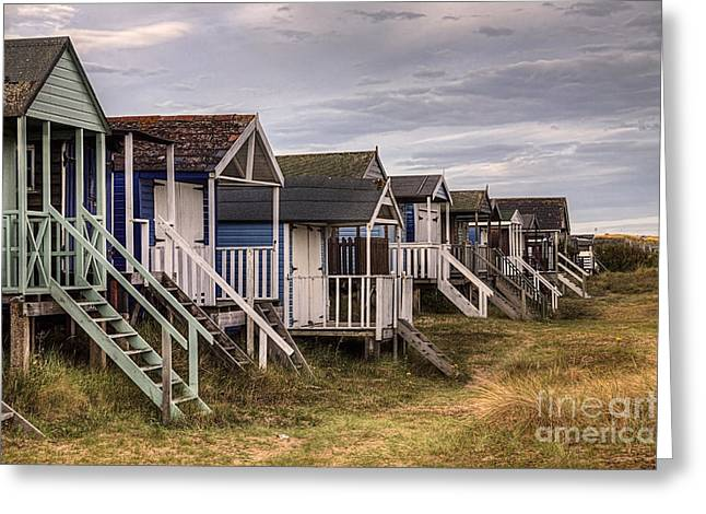 Hut Greeting Cards - Old Hunstanton Beach Huts North Norfolk United Kingdom Greeting Card by John Edwards