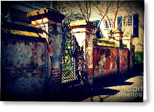 Old Iron Gate In Charleston Sc Greeting Card by Susanne Van Hulst
