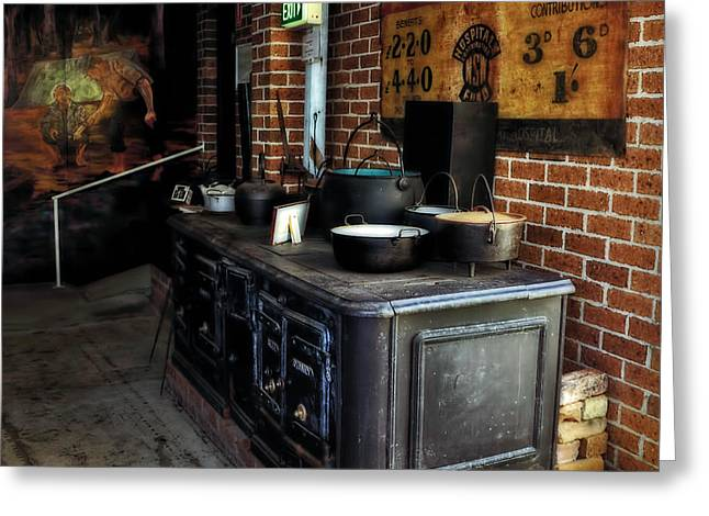 Old Stove Greeting Cards - Old Iron Stove - Oven Greeting Card by Kaye Menner
