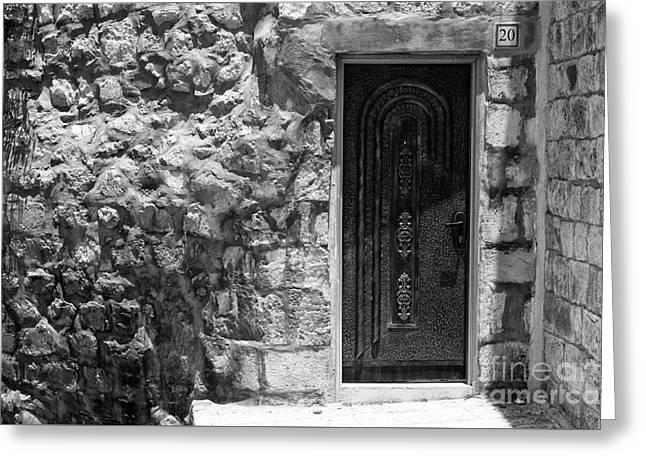 Old City Prints Greeting Cards - Old Jerusalem Door Greeting Card by John Rizzuto