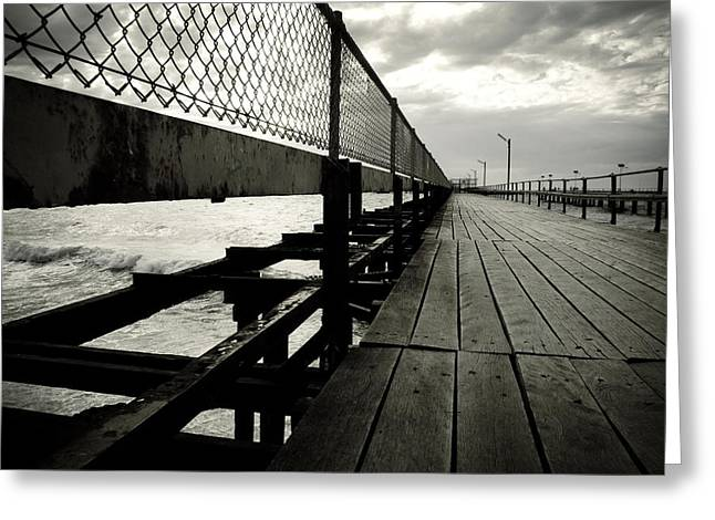 Rough Waters Greeting Cards - Old Jetty Greeting Card by Kelly Jade King