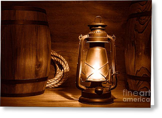 Old Kerosene Lantern - Sepia Greeting Card by Olivier Le Queinec