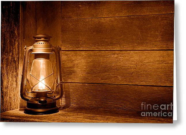 Old Kerosene Light - Sepia Greeting Card by Olivier Le Queinec