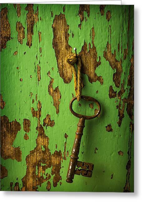 Old Objects Photographs Greeting Cards - Old Key On Green Wall Greeting Card by Garry Gay