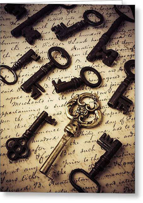 Unlock Greeting Cards - Old Keys And Document Greeting Card by Garry Gay