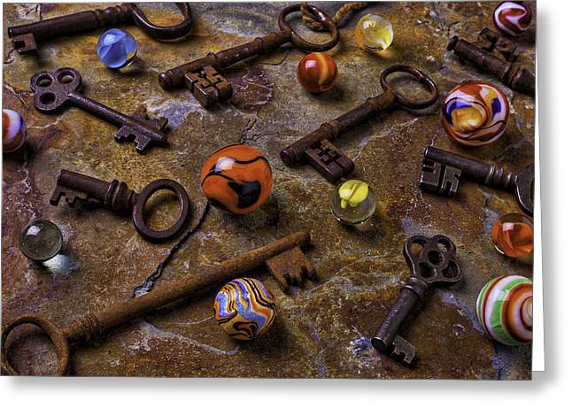 Old Keys And Marbles Greeting Card by Garry Gay