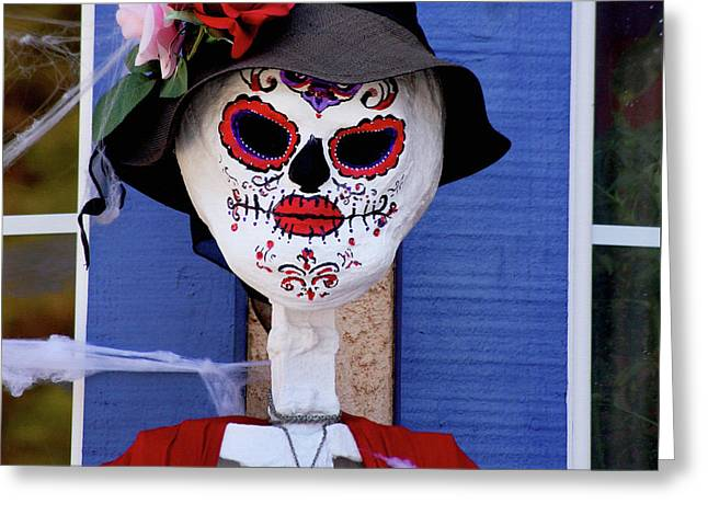Old Lady Sugar Skull Greeting Card by Art Block Collections