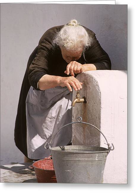 Old Lady With Water Pail Greeting Card by Carl Purcell