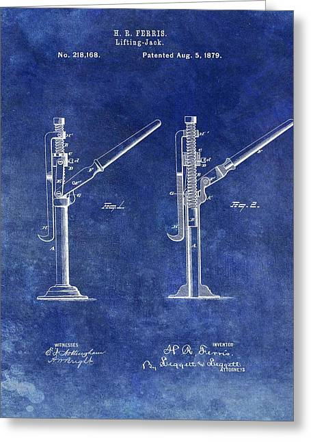 Old Lift Jack Patent Greeting Card by Dan Sproul