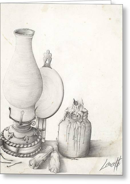 Oil Lamp Drawings Greeting Cards - Old Light Greeting Card by Lancelot Chancel