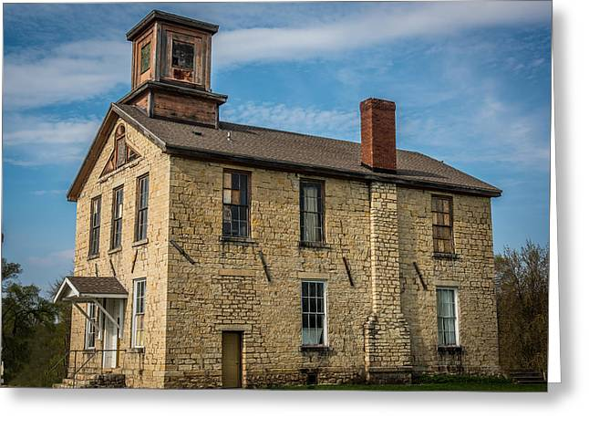 Abandoned School House. Greeting Cards - Old Limestone school house Greeting Card by Paul Freidlund