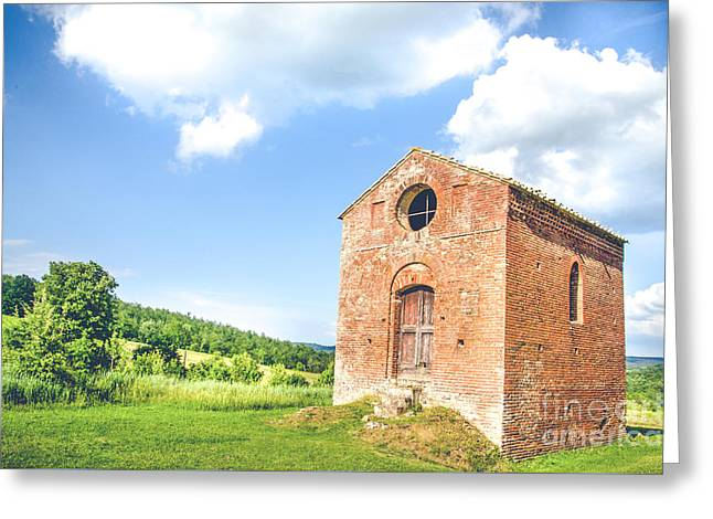Old Little Church In Tuscany  Canvas - Tuscan Cottage Greeting Card by Luca Lorenzelli
