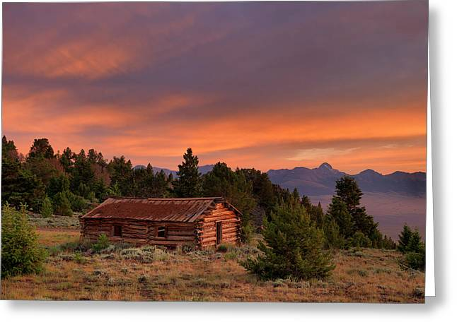 Old Log Cabin Greeting Card by Leland D Howard