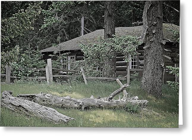 Cabin Interiors Digital Greeting Cards - Old Log Cabin Greeting Card by Richard Farrington