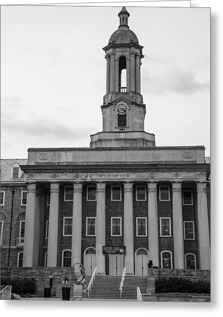 Old Main Penn State Black And White Greeting Card by John McGraw