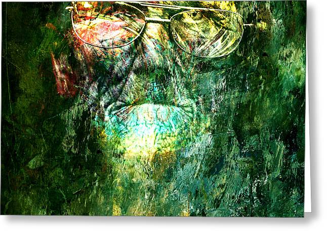 Old Wall Mixed Media Greeting Cards - Old Man acrylics Greeting Card by Marian Voicu