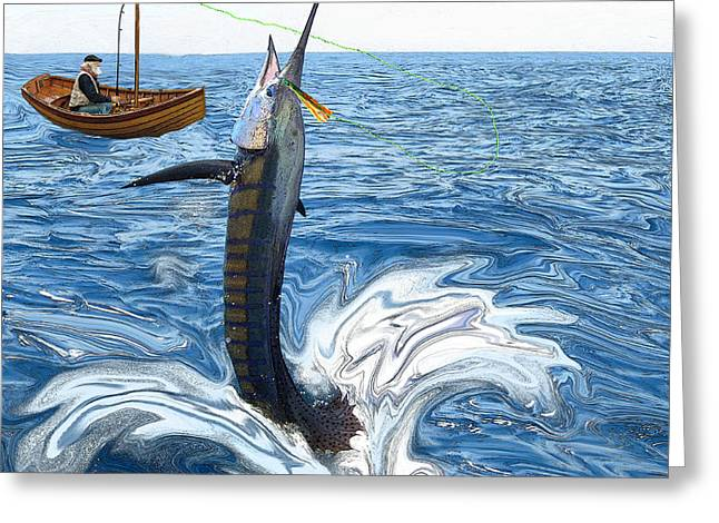 Old man and the Sailfish Greeting Card by Ralph Martens