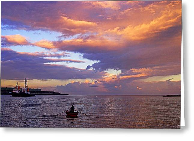 Caribbean Sunset Greeting Cards - Old Man and The Sea- St Lucia Greeting Card by Chester Williams