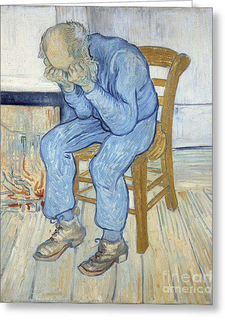Depressed Greeting Cards - Old Man in Sorrow Greeting Card by Vincent van Gogh