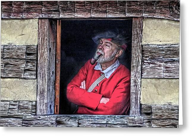 Cabin Window Digital Greeting Cards - Old Man in Window Greeting Card by Randy Steele