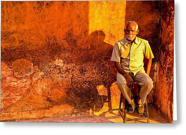 Old Man On Stool Greeting Card by M G Whittingham