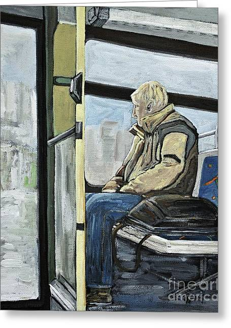 Old Man On The Bus Greeting Card by Reb Frost