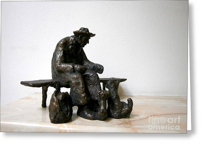 Dog Sculptures Greeting Cards - Old man who fed the dogs Greeting Card by Nikola Litchkov