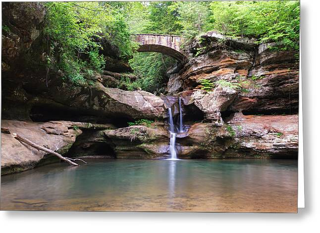 Water In Caves Greeting Cards - Old Mans Cave Upper Falls 2 Greeting Card by Rachel Cohen
