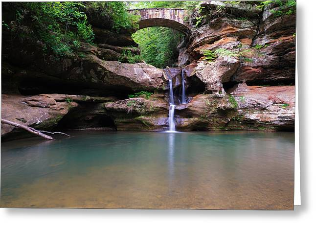 Water In Caves Greeting Cards - Old Mans Cave Upper Falls Greeting Card by Rachel Cohen