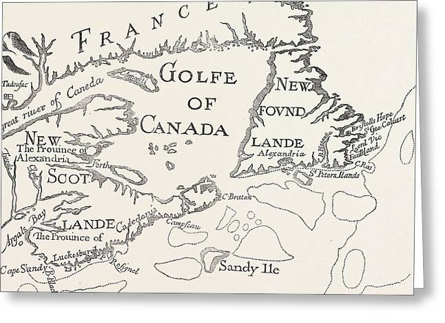 Old Map Of Acadie  Canada Greeting Card by French School