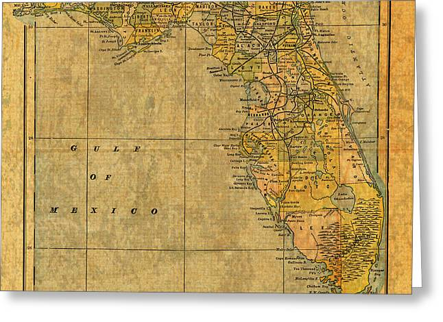 Old Map Mixed Media Greeting Cards - Old Map of Florida Vintage Circa 1893 on Worn Distressed Parchment Greeting Card by Design Turnpike