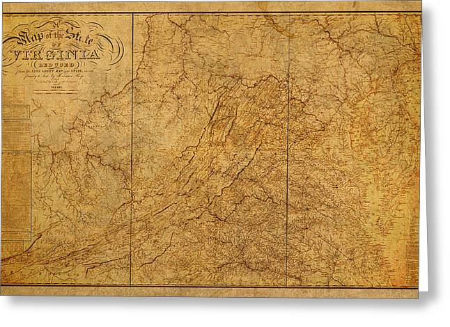 Old Map Mixed Media Greeting Cards - Old Map of Virginia State Schematic Circa 1859 on Worn Distressed Parchment Greeting Card by Design Turnpike